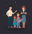 happy family father mother and children vector image vector image
