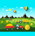 harvesting landscape with hay balls and tractors vector image vector image