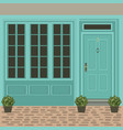 house door front with window steps and plants vector image