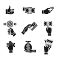 icons of hands holding money vector image vector image