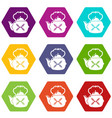 kettle vintage icons set 9 vector image vector image