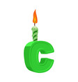 letter c birthday font letter and candle vector image vector image