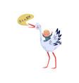 little kid sitting on stork cheerful bird saying vector image