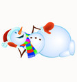 lying snowman in red mittens and striped scarf vector image vector image