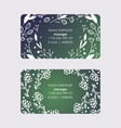 manager business cards with wreaths leaves and vector image vector image