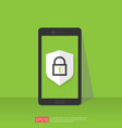 mobile phone with shield padlock protection sign vector image vector image