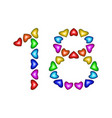 number 18 eighteen from colorful hearts on white vector image