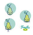 pears cute fruits cartoons vector image vector image