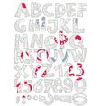 Retro snowflake font set vector image vector image