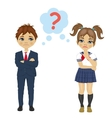 schoolgirl and schoolboy have a question mark sign vector image