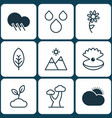 set of 9 nature icons includes oak seashell vector image vector image