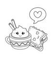 set of bakery food kawaii characters vector image vector image