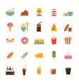 set simple food nad drink icons in trendy vector image