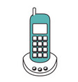 silhouette color sections of cordless phone vector image vector image