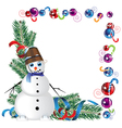 snowman with a bucket on his head vector image