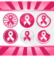 Sticker and Buttons with Pink Awareness Ribbons vector image vector image
