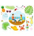summer vacation couple eating near sea shore vector image vector image