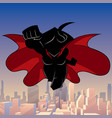 superheroine coming city silhouette vector image vector image