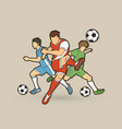 three soccer player team composition vector image