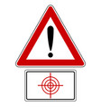 traffic sign with exclamation mark and target vector image vector image