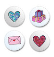 valentine day icons set heart and gifts stickers vector image