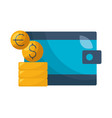 wallet money dollar euro coins vector image vector image