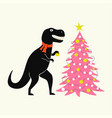 with black tyrannosaurus in red scarf and pink vector image