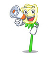 with megaphone white rose in the shape cartoon vector image vector image