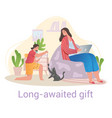 young girl playing with her new pet cat - a long vector image