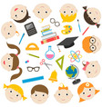 school theme icons and funny kids vector image