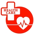 red health care icon with heart vector image