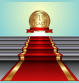 abstract of red carpet on staircase and golden vector image