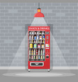 automatic vending machine with food and drinks vector image vector image