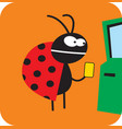 beetle wants to get cash at an atm vector image vector image