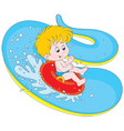 Boy on a water slide vector image