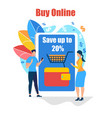 buy online young people stand at giant smartphone vector image vector image