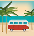 car on the beach summer vacations vector image