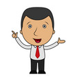 cartoon businessman pointing his finger up vector image vector image
