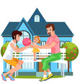 cartoon happy family spending time together vector image vector image