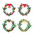 christmas tree wreath with decorations vector image