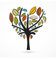 Colorful Abstract Heart Shaped Tree on White vector image vector image