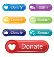 colorful website donate buttons design vector image vector image