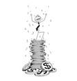 conceptual cartoon of businessman enjoying on top vector image vector image