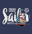 cute sailor bear on a sailboat vector image vector image