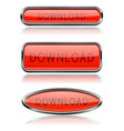 download red buttons with metal frame vector image vector image