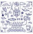 dragon boat festival doodle set vector image