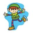 Elf skating cute kid cartoon vector image vector image