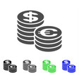 euro and dollar coin columns icon vector image vector image