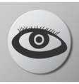 eye grey icon on round button with shadow vector image