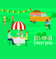 family street food festival background flat style vector image